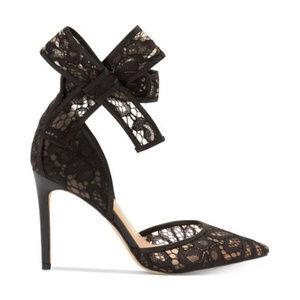 I.N.C. Black lace ankle bow strap pumps, 7.5